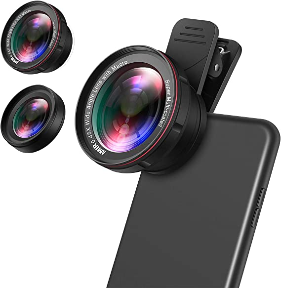 0.45X Wide Angle for iPhone Samsung 2 in 1 Clip-on Lens Kit 12.5X Macro