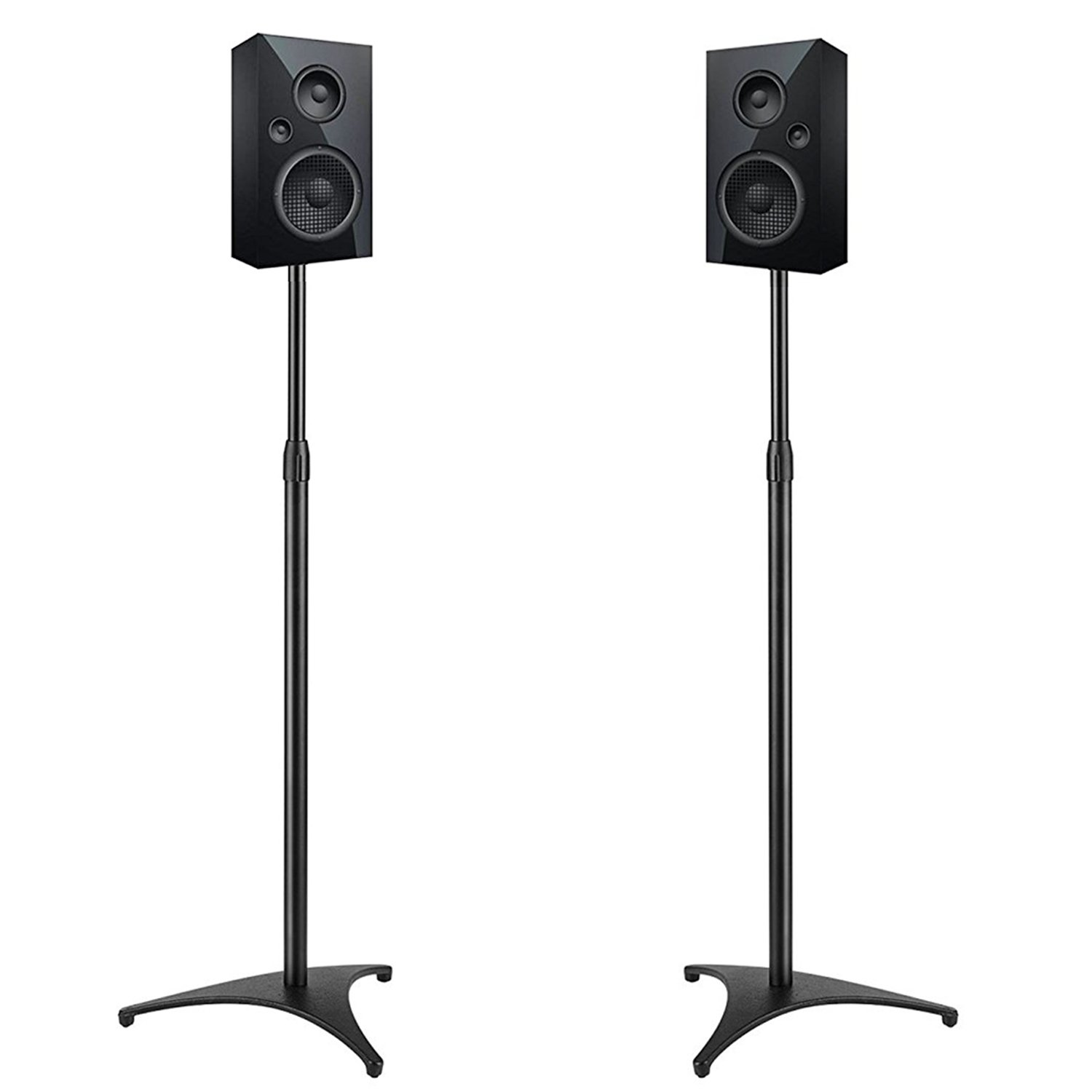 PERLESMITH Adjustable Height Speaker Stands-Extends 30-45 Inch-Hold Satellite & Small Bookshelf Speakers Weight up to 8lbs-Heavy Duty Floor Stands for Surround Sound-1 Pair (Model: PSSS1) by PERLESMITH