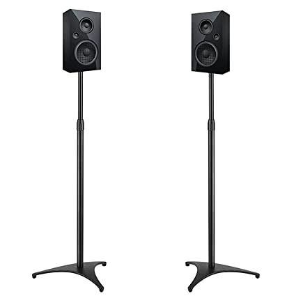 Perlesmith Adjustable Height Speaker Stands Extends 30 45 Inch Hold Satellite Small Bookshelf Speakers Weight Up To 8lbs Heavy Duty Floor Stands For
