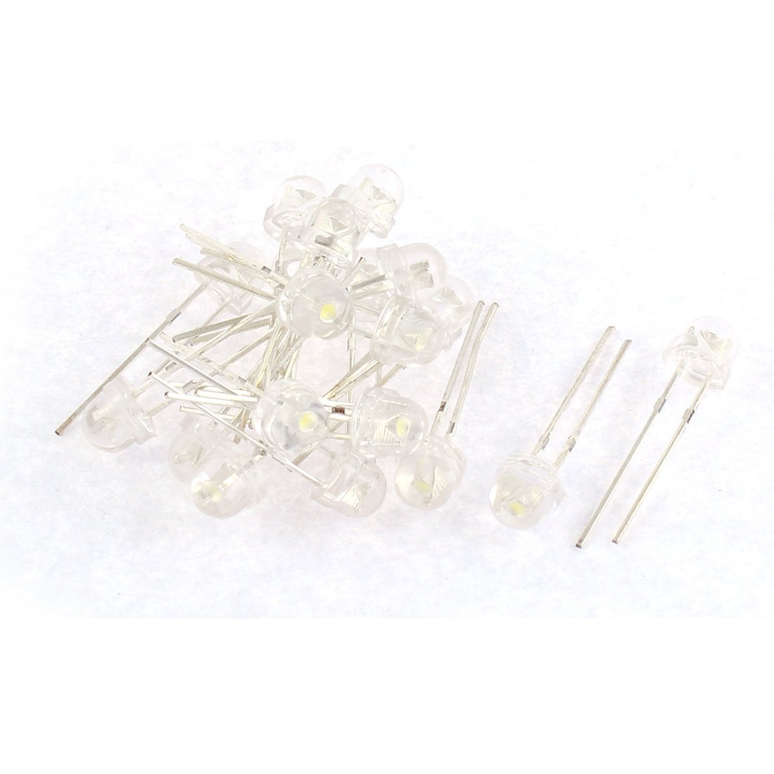 sourcingmap 20pcs 5mm White Light LED Lamp Emitting Diodes Bulbs Component a15113000ux1916