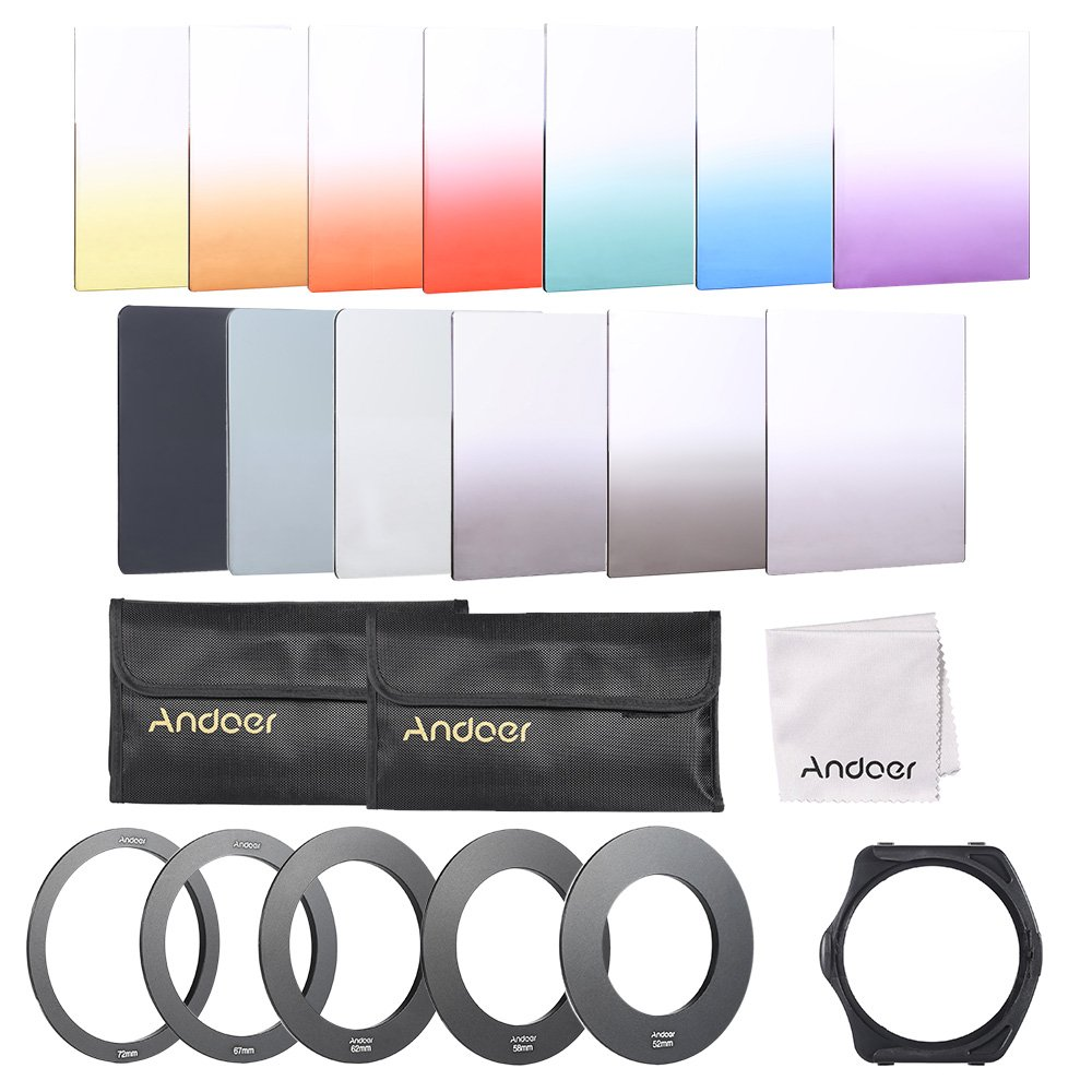 Andoer 13pcs Square Gradient Full Color Filter Bundle Kit for Cokin P Series with Filter Holder + Adapter Ring(52mm/58mm/62mm/67mm/72mm) + Storage Bag + Cleaning Cloth by Andoer