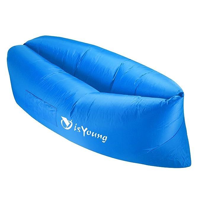 isYoung - Sofá hinchable portátil, ultra resistente al agua y duradero para camping, playa, parque, patio, picnics o tumbona, azul: Amazon.es: Deportes y ...