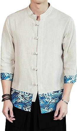 GRMO - Camisa de Trabajo de Manga Corta para Hombre, Estilo Retro, Estilo Chino: Amazon.es: Ropa y accesorios