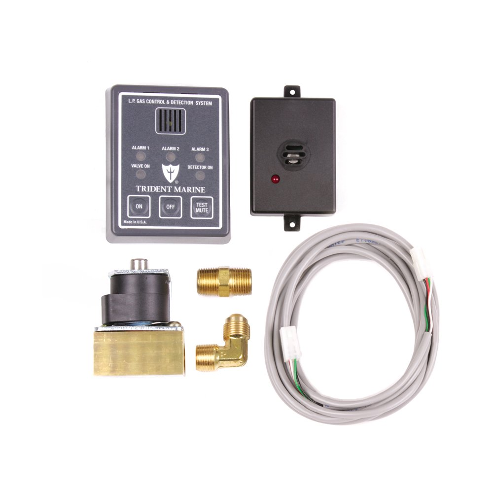 Trident Marine 1300-7761-Kit 12VDC L.P. Gas Control & Detection System Kit, 3/8'' Fpt Ports, 10' Cable