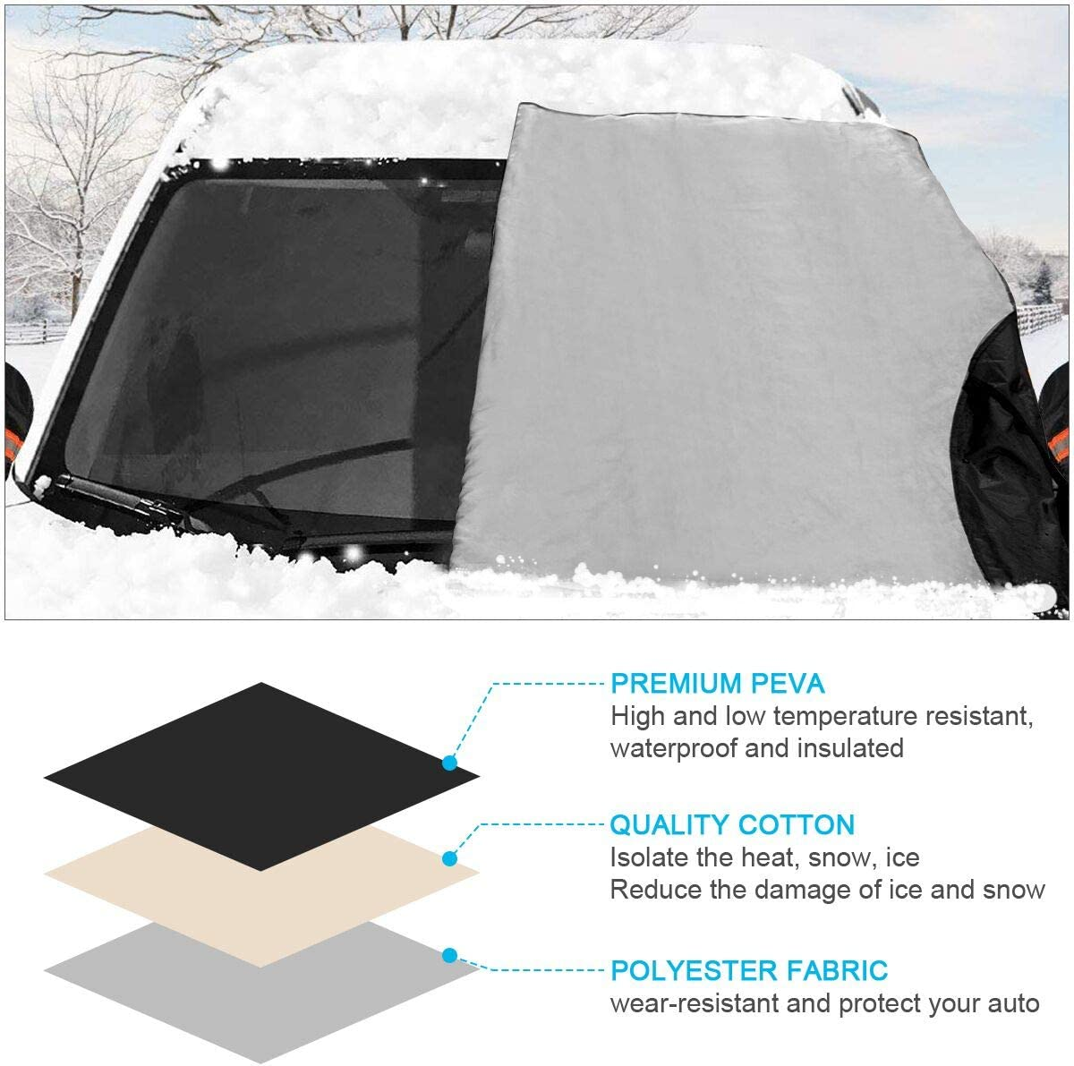 Extra Large /& 3-Layer Anti-Sunshade Wind-Proof Anti-theft Waterproof Scratch-proofs 85 x 50 inch ELZO Windshield Snow Cover with Side Mirror Covers for Trucks SUV Cars