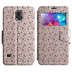 Be-Star Diseño Impreso Colorido Slim Casa Carcasa Funda Case PU Cuero - Stand Function para Samsung Galaxy S5 V / i9600 / SM-G900F / SM-G900M / SM-G900A / SM-G900T / SM-G900W8 ( Pink Cuties )