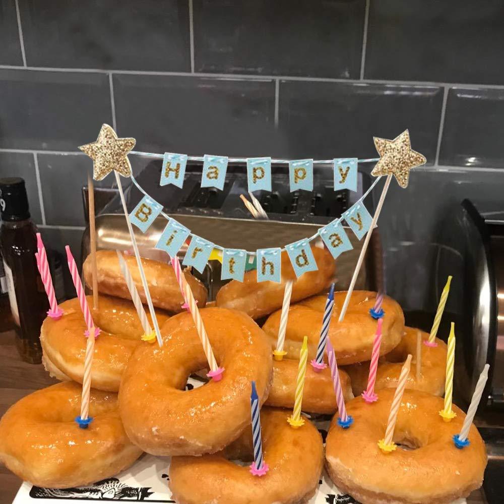 MIZOMOR 2 St/ück Cake Topper Happy Birthday Tortenstecker Geburtstag Wimpelkette Kuchen Topper Girlande Dekoration f/ür Torten Cupcake Party Kuchendeko Tortendeko Blau Pink
