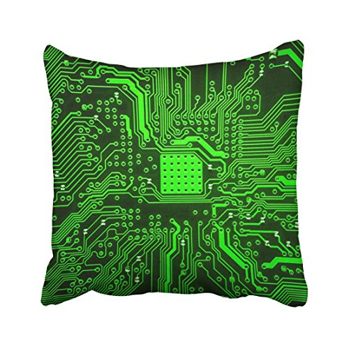 (Emvency Blue Printed Circuit Board Abstract Technology Chip Digital Electricity Engineering Modern Throw Pillow Cover Covers 20x20 inch Decorative Pillowcase Cases Case Two Side)