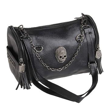 b300abc978bdb BouT Damen Punk Rock Handtasche Umhängetasche aus PU-Leder mit Totenkopf-Nieten  und