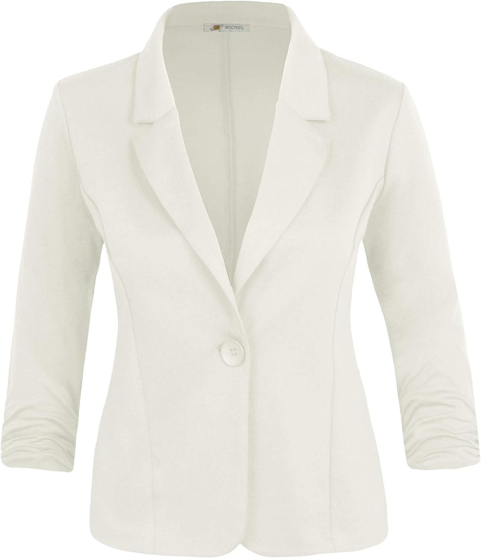 Michel Women's Basic Collar Blazer 3/4 Crunched Sleeve Button Closure Jacket with Plus Size (1XL ~ 3XL)