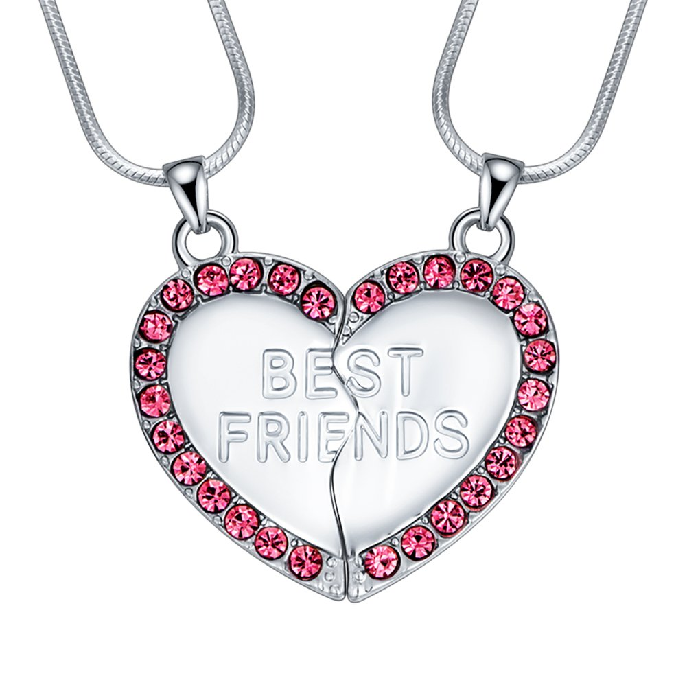 ELOI Best Friend Necklaces Heart 2 Piece Gifts for Teen Girls 18 Inch Necklace Set FJ078
