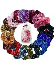 Cheveux Velours Élastique Chouchous, Mopalwin Lot de 20 Multicolore Cheveux bandeaux Liens Cordes Queue De Cheval Porte Bandeaux Pour Femmes Ou Filles Accessoires De Cheveux