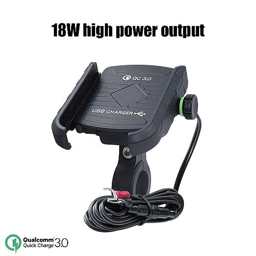 WINBST Soporte para teléfono para Motocicleta Cargador de USB QC 3.0 Soporte para teléfono móvil con rotación Universal de 360 ° para ...