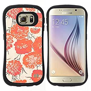 "Hypernova Slim Fit Dual Barniz Protector Caso Case Funda Para Samsung Galaxy S6 [Peach Vignette Wallpaper Flores""]"