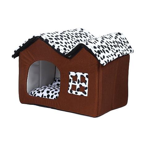Wefun Caseta a casa Cama Plegable Caseta con cojín casa Cojines sofá para Perros Gatos Cuna