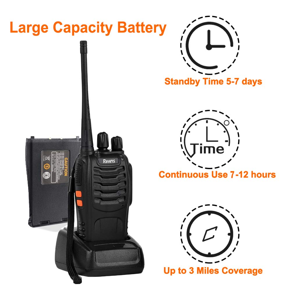 Rivins RV-9 Walkie Talkies Rechargeable for Adults UHF 400 470MHz 16 Channel Long Range Two Way Radio with Charger and Earpiece 4 Pack