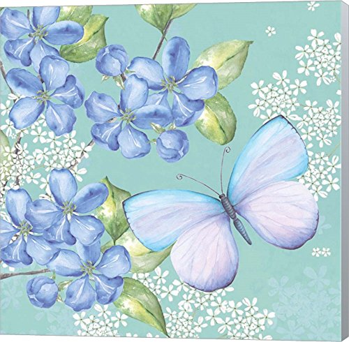 Blue Floral Butterfly by P.S. Art Studios Canvas Art Wall decor