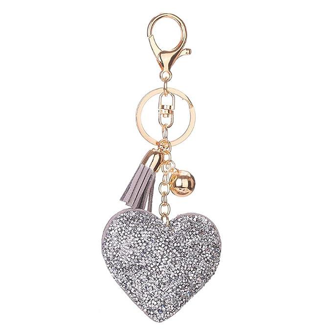 Fulision Moda corazón en forma de diseño llavero brillante ...