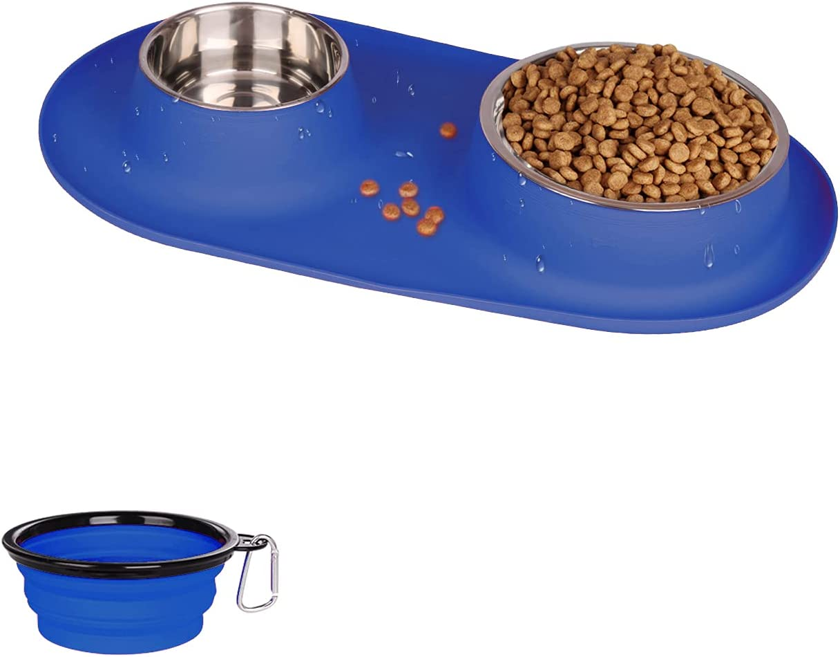 Dog Cat Bowls Stainless Steel, Collapsible Dog Bowl with No Spill Non-Skid Silicone Mat Set, Three Feeder Food Water Bowl for Small Medium Large Dogs, Puppies, and Pets, Pack of 3