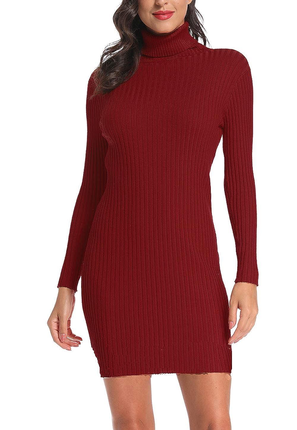Ancapelion Donna Vestito Collo Alto a Maglieria per Inverno Maglione Lungo Elegante Pullover Aderente Elasticizzato Abito Accollato Invernale