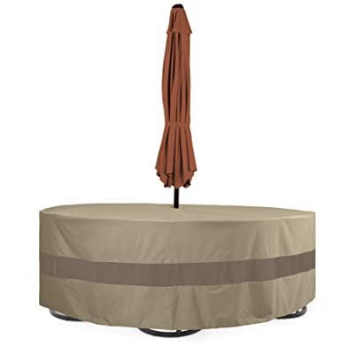 """SunPatio Outdoor Table and Chairs Cover, Patio Furniture Set Cover 96"""" Dia, Water Resistant Round Dining Table Set Cover with Umbrella Hole, Lightweight, Helpful Air Vents, Neutral Taupe : Garden & Outdoor"""