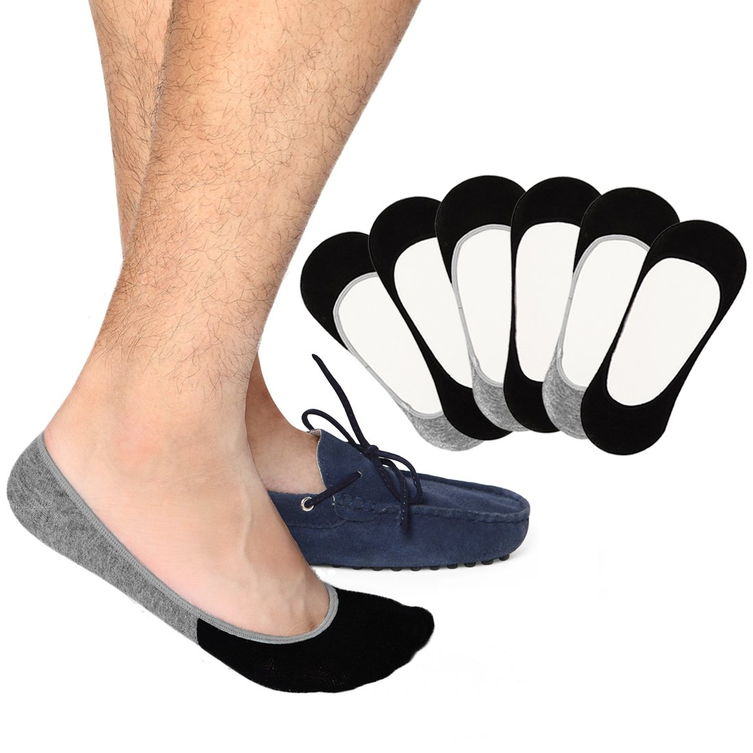 Casual No Show Socks for Men - 6 Pairs Invisible Liner Socks Footies with Silicone Grip