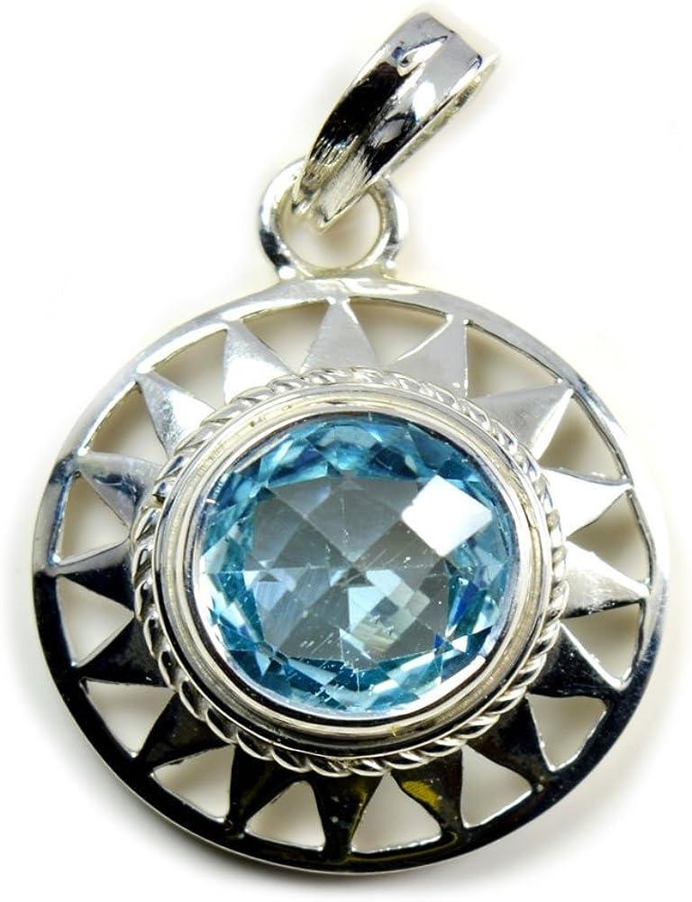 GemsOnClick - Collar con Colgante de Plata de Ley con topacio Azul Radiante y Piedra Natal Natural, Hecho a Mano para Mujer