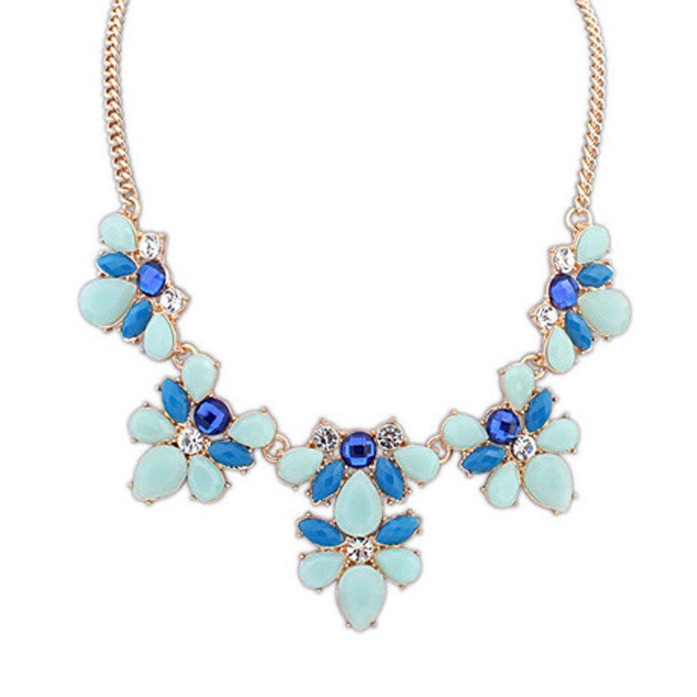 HuntGold Elegant Flower Acrylic Diamond Pendant Chain Choker Necklace(Blue)
