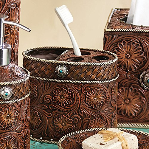 Soap Dish Cowboy (Black Forest Decor Western Tooled Leather)