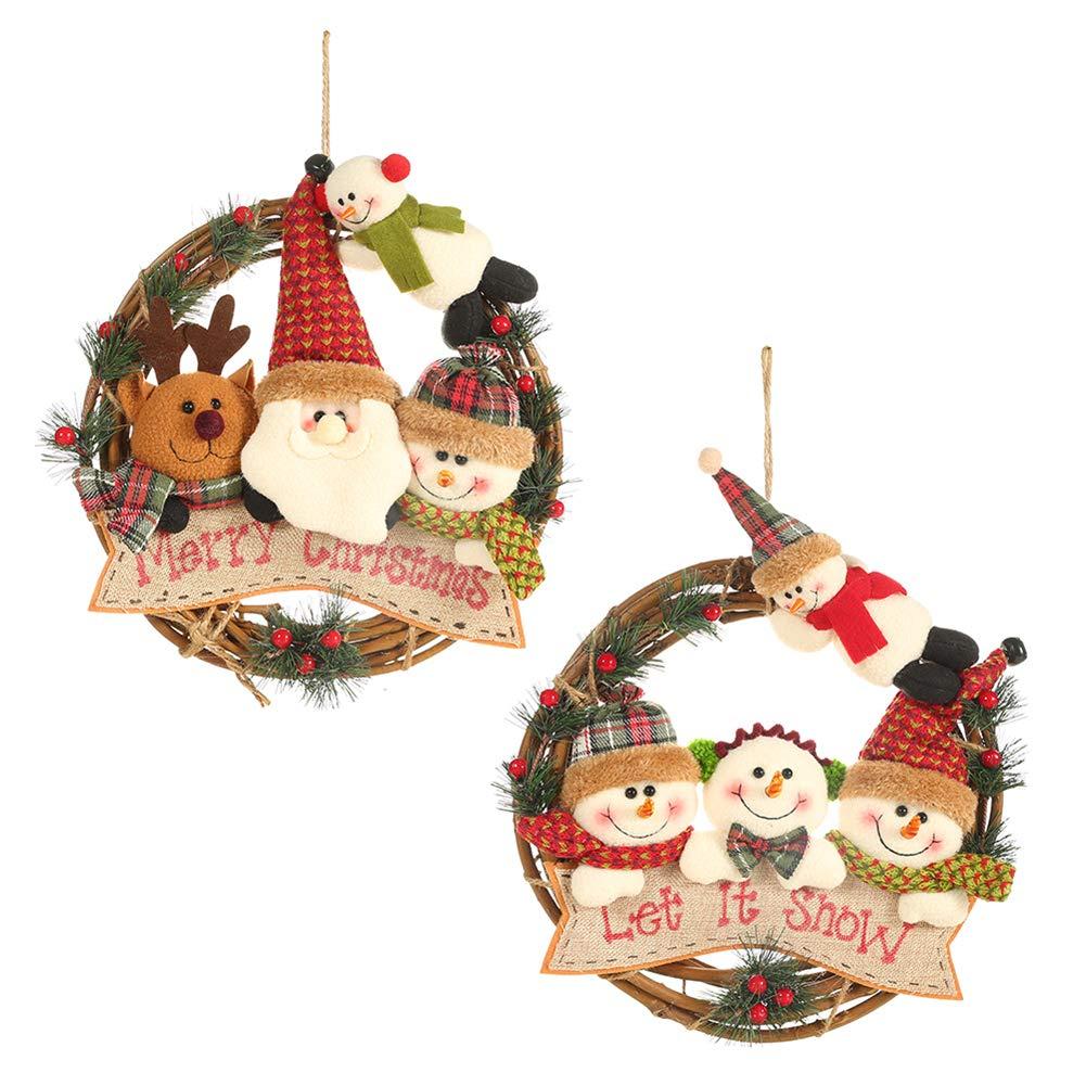 BESTEU Decorazioni Natalizie Pupazzo di Neve Vecchio Cervo Ornamenti Ghirlanda Figurina Decorazione Ghirlanda in Rattan
