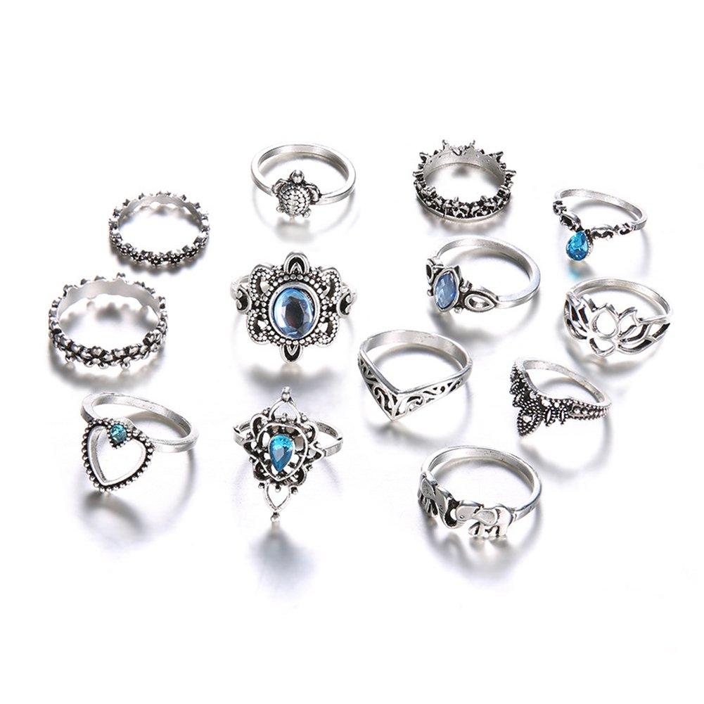 BIGBOBA 11 pezzi blu strass anelli retrò di modo, Lega Knuckles Anelli set Argento Gioielli Anello per donne 1.4-1.7cm