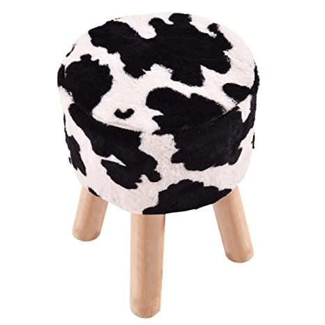 Admirable Amazon Com Myeasyshopping Cow Pattern Faux Fur Round Stool Dailytribune Chair Design For Home Dailytribuneorg
