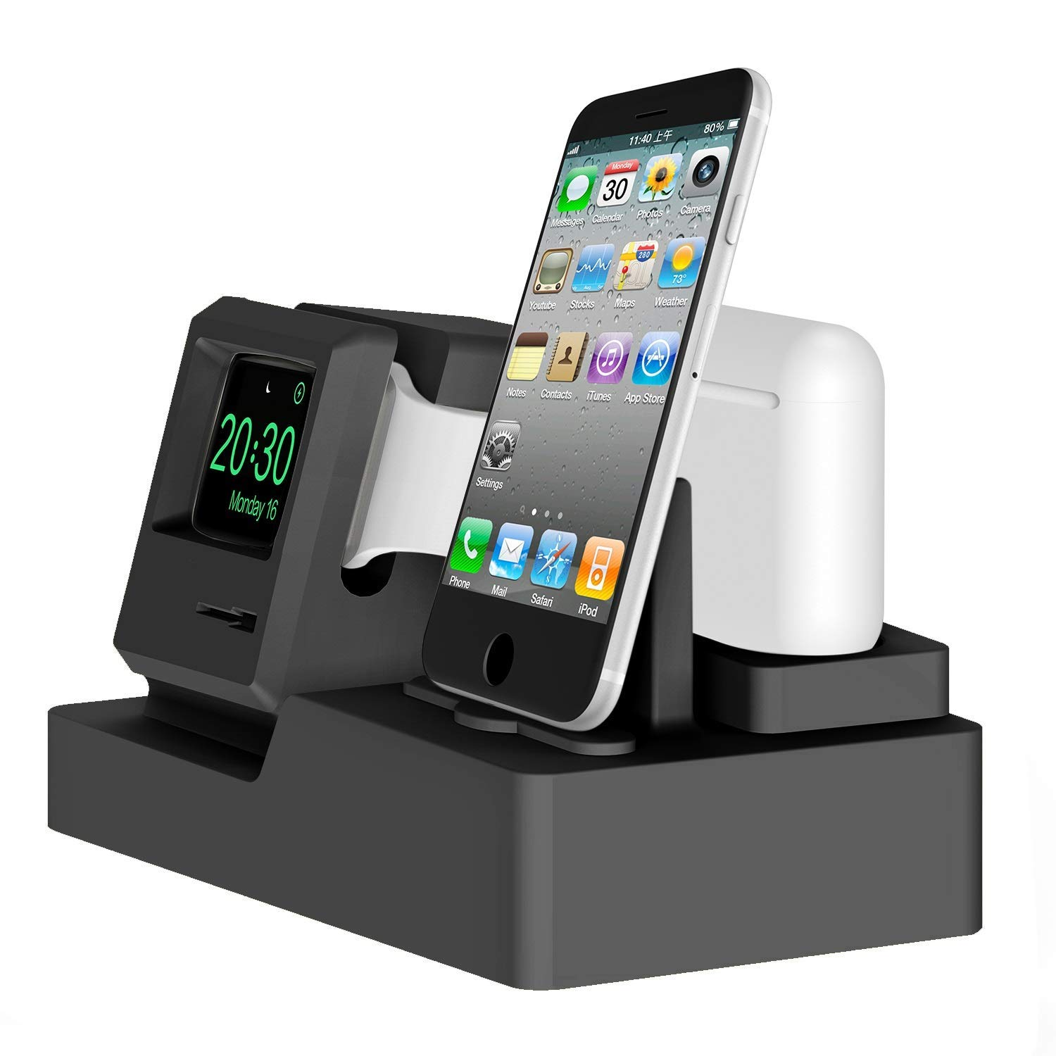 Xflelectronic Charging Station Dock for IWatch AirPods Charger Stand Charging Holder for Apple Watch Series 4/3/2/1/ AirPods/iPhone X/8/8Plus/7/7 Plus by Xflelectronic