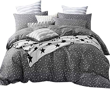 Amztop Latest Collection Star Duvet Cover Set Twin Kids Duvet Cover 3 Piece Bedding Set Comforter Cover Black White Starry Sky Quilt Cover With 2 Pillow Shams Home Bedding Set No Comforter
