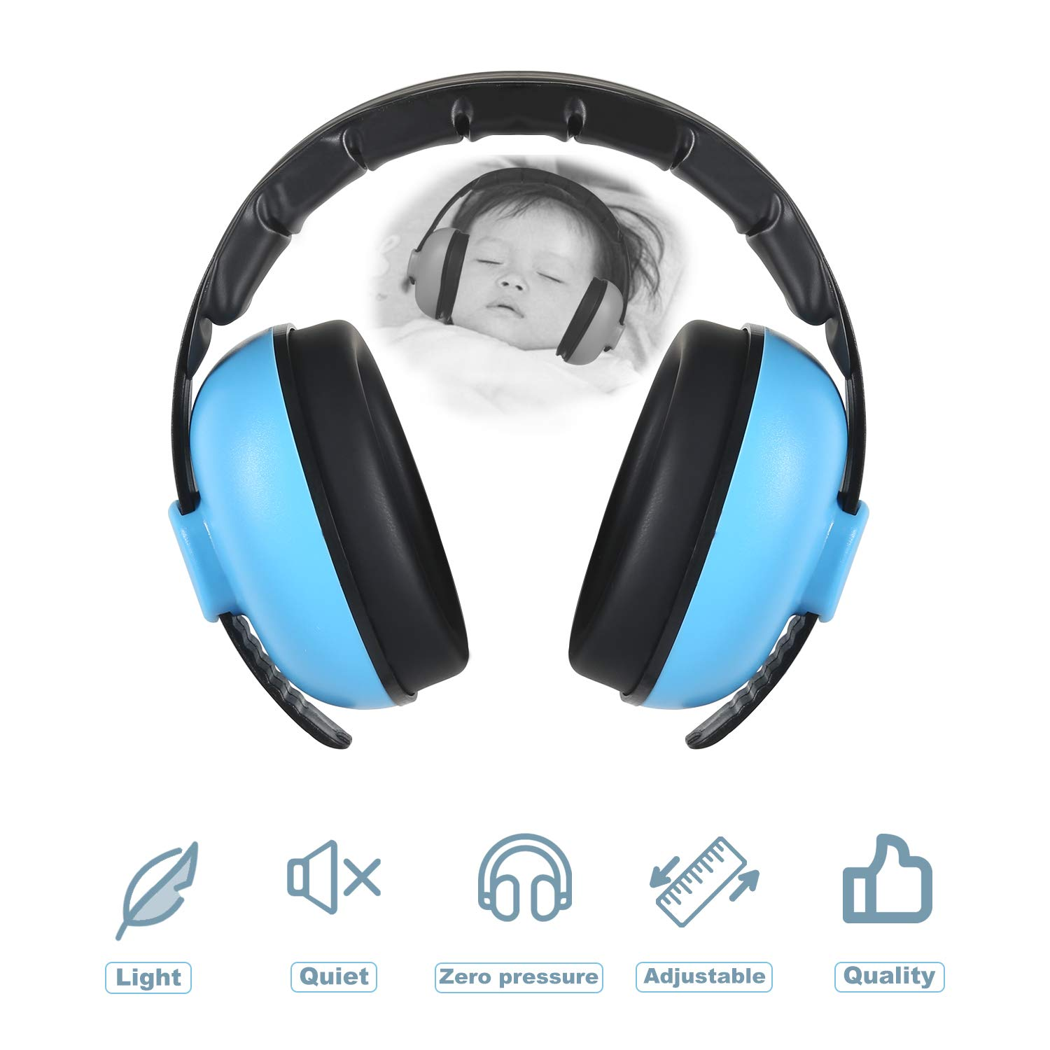 Baby Ear Protection, Hearing Noise Muffs Headphones Waterproof Sound with Airplane Flight Racing Travel Shooting for 0-18 Months Kids Baby Toddler Infant Newborn