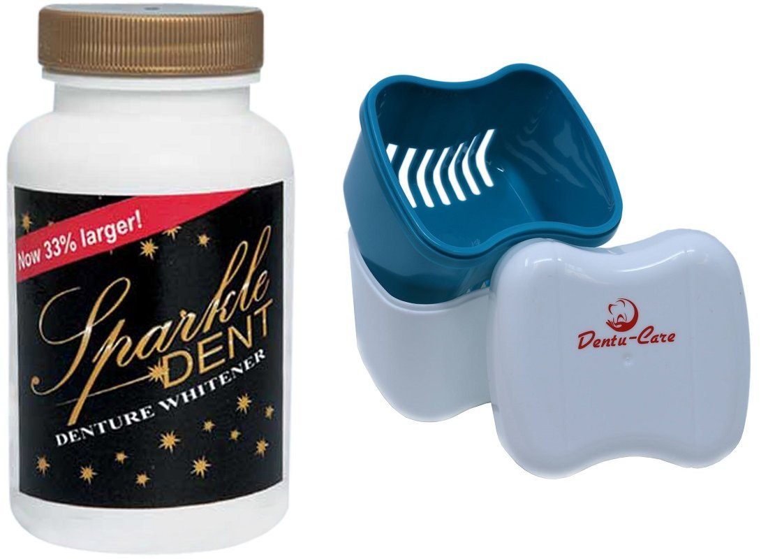Sparkle Dent Denture Cleaner Whitener Bundled with Dentu-Care Denture Case Cup With Basket and Lid for Easy Storing  Of Retainer Invisalign Mouthguard by US Dental Cooporation