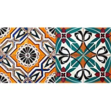 Authentic Tile Stickers By Mi Alma 24 PC set Spanish Design Wall Tile Decal Perfect for Kitchen Backsplash or Bathroom Tiles Vinyl Art Easy to Install Peel and Stick (6x6 Inch, Green Orange H203)