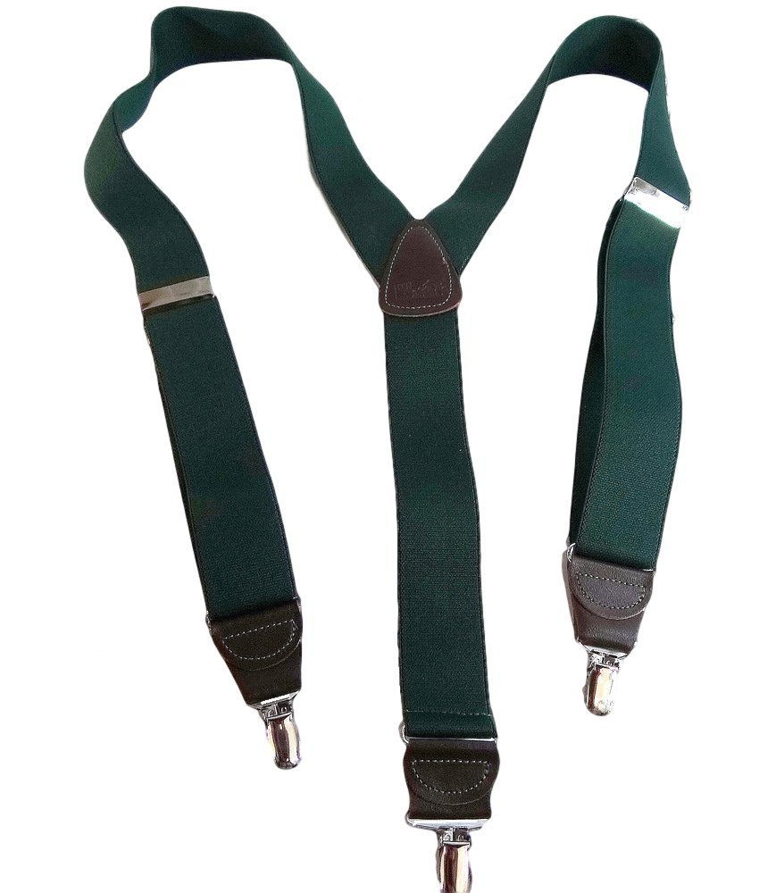 Holdup Brand Hunter Green Men's Clip-On Y-back Suspenders with Silver/Chrome no-slip Clips