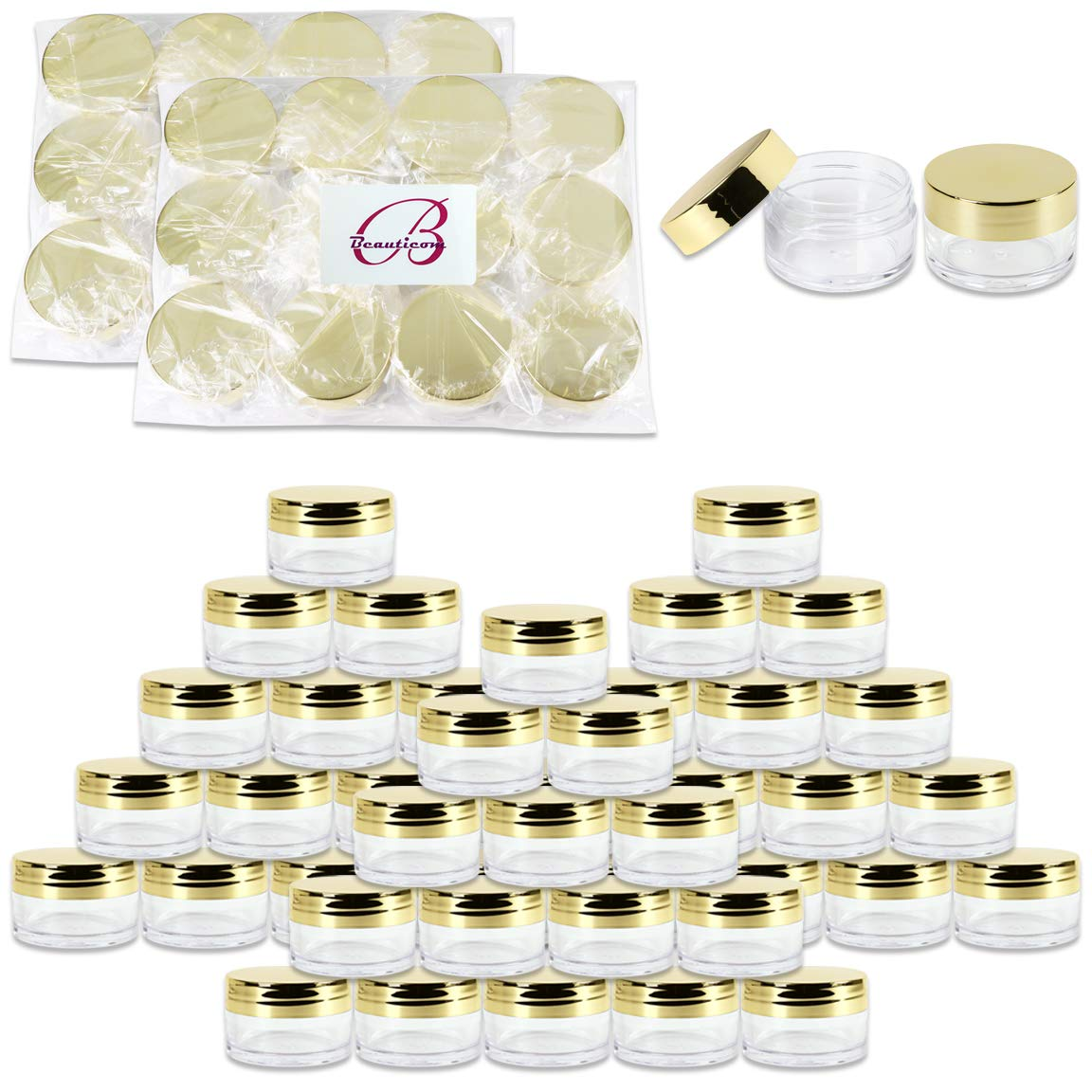 Beauticom 20g/20ml USA Acrylic Round Clear Jars with Lids for Lip Balms, Creams, Make Up, Cosmetics, Samples, Ointments (120 Pieces Jars + Lids, GOLD) by Beauticom