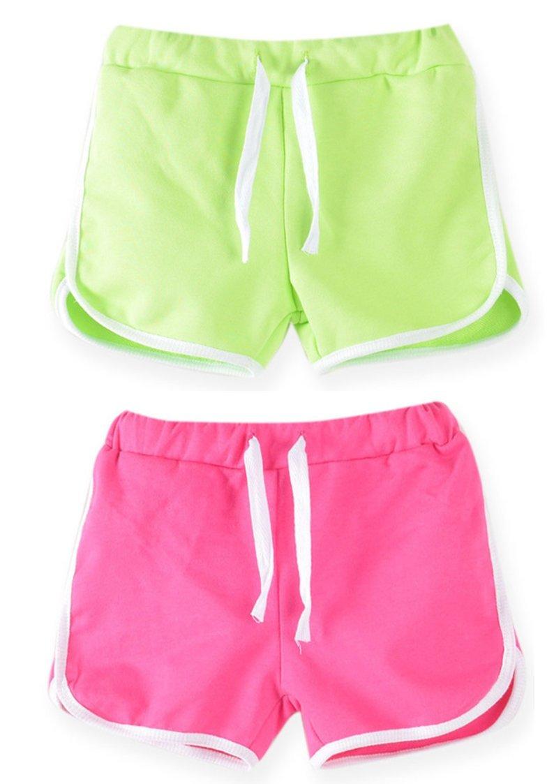 Syleia Girl Shorts Pack of 2 (Medium, Pink & Bright Green)