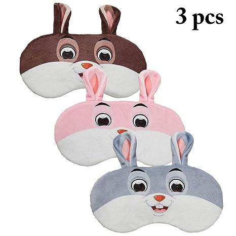 Justdolife 3pcs dormire maschera cartone animato carino coniglio