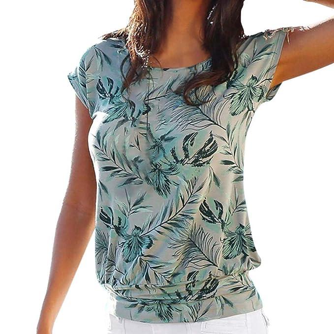 TOPKEAL Camiseta Verde de Manga Corta con Cuello Redondo y Estampado de Hojas de Verano para Mujer: Amazon.es: Ropa y accesorios