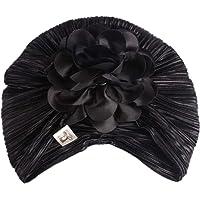 Bigood Women Vintage Pleated Floral Muslim Turban Hat Chemo Hair Loss Cap