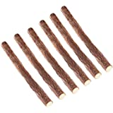 UEETEK 6pcs Natural Wood Cat Stick Chew Toy Dental Health Kitten Brush Teeth Pet Treat