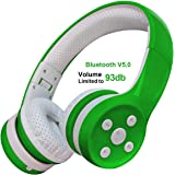 Yusonic Kids Bluetooth Headphones, Bluetooth V5.0 Foldable Volume Limited Kids Wireless Headphones with Built-in Microphone for Cell Phones TV Toddler Tablet Game School Boys Girls (Green