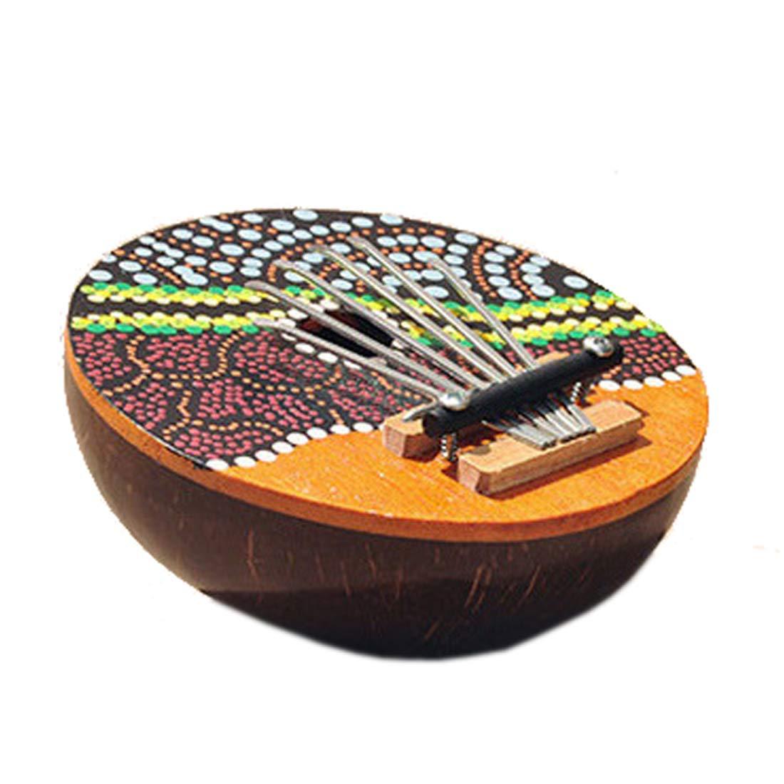 Kalimba Thumb Piano Random Painted 7 Key Coconut Shell Finger Small Piano Leiqin