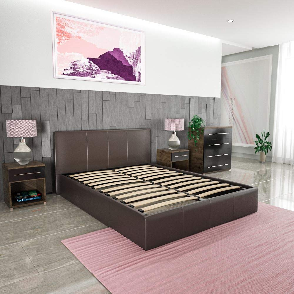 Vida Designs Lisbon Ottoman Double Bed 4ft6 Brown /& Memory Foam Mattress Faux Leather Frame Medium Firmness 6 Inch Cream Upholstery UKFR
