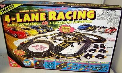Amazon.com  TYCO 6693 4- Lane Racing HO Scale Electric Slot Car Set ... 2b9e9b1605ce