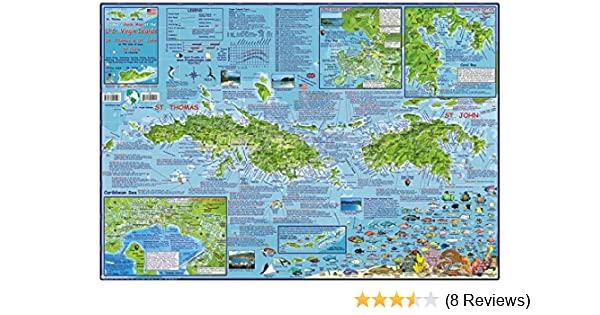 U.S Virgin Islands USVI Dive Map Laminated Poster By Franko ...