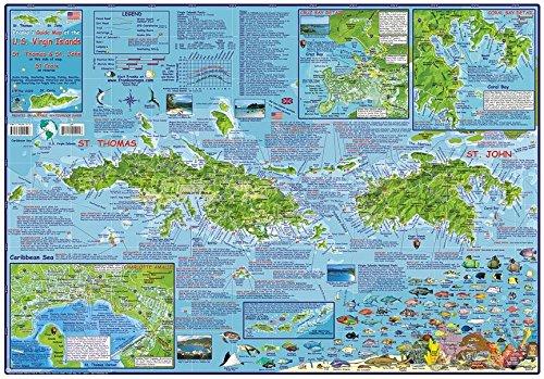 U.S Virgin Islands USVI Dive Map Laminated Poster By Franko Maps